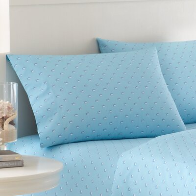 Skipjack Printed Cotton Pillowcase Color: Blue Topaz, Size: King