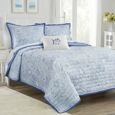 Seapine Quilt Color: Sky Blue, Size: Full/ Queen