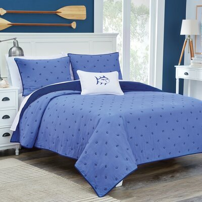 Skipjack Quilt Color: Navy, Size: King