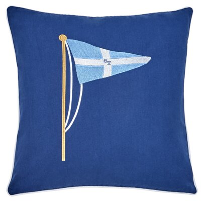 Yacht Club Embroidered Pennant 100% Cotton Throw Pillow
