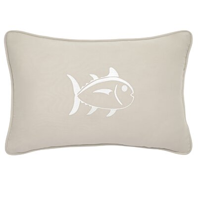 Skipjack Decorative Cotton Lumbar Pillow Color: Khaki/White