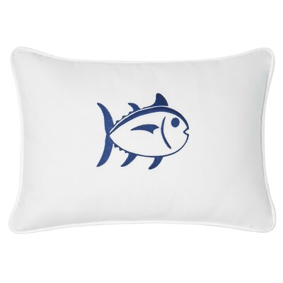 Skipjack Decorative Cotton Lumbar Pillow Color: White/Blue