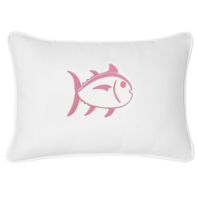 Skipjack Decorative Cotton Lumbar Pillow Color: White/Pink