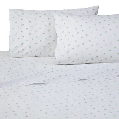 Palms 4 Piece 200 Thread Count 100% Cotton Sheet Set Size: Twin