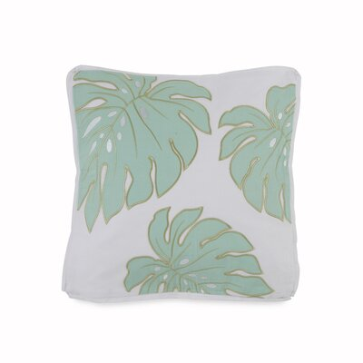 Tropical Retreat Square Monstera Leaf Cotton Throw Pillow