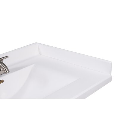 22 X 3 Right Hand Side Splash for Wave Style Bathroom Vanity Top in Solid White
