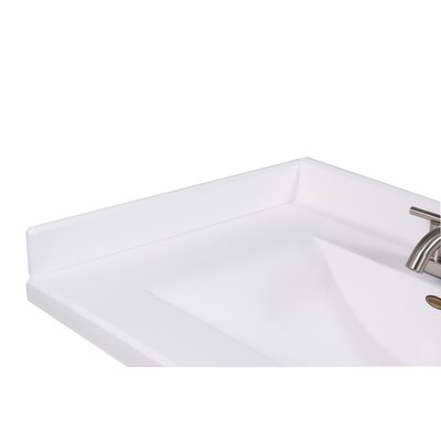 22 X 3 Left Hand Side Splash for Wave Style Bathroom Vanity Top in Solid White