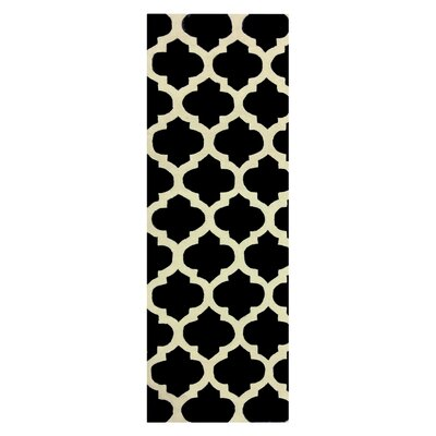 Elite Black Area Rug Rug Size: Runner 26 x 8