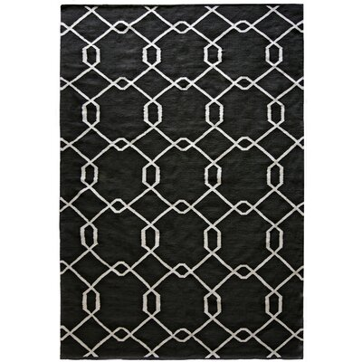 Diamond Hand-Woven Black Area Rug Rug Size: Rectangle 5 x 7