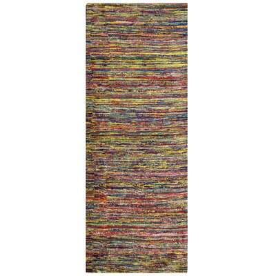 Sari Festival Purple/Green/Yellow Area Rug Rug Size: Runner 2 x 8