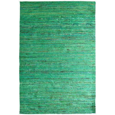 Sari Indian Hand-Woven Green Area Rug Rug Size: 8 x 10
