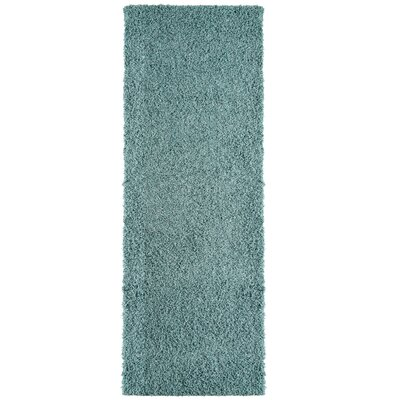Modern Blue Aqua Shag Area Rug Rug Size: Runner 2 x 8