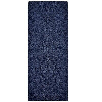 Modern Blue Sailor Shag Area Rug Rug Size: Runner 2 x 8