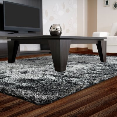 Neptune Calling Hand-Tufted Black/White Area Rug Rug Size: Square 7'