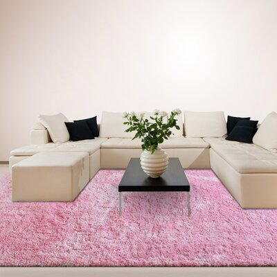 Fur Shag Pink Area Rug Rug Size: 6 x 9