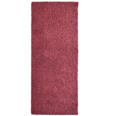 Modern Red Shag Area Rug Rug Size: Runner 2 x 8