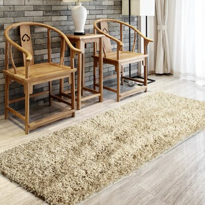 Soft Shag Sand Beige Area Rug Rug Size: Rectangle 5 x 8