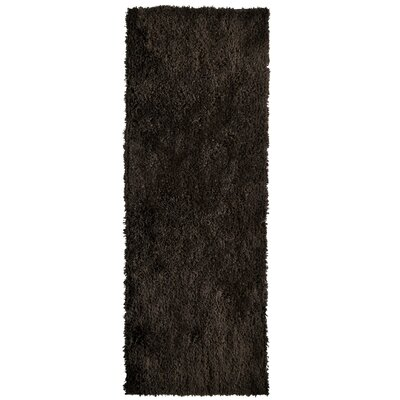 Soft Shag Hand Woven Espresso Area Rug Rug Size: Runner 26 x 8