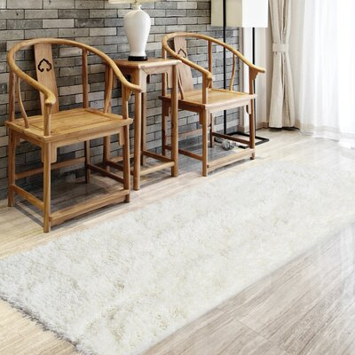 Soft Shag White Area Rug Rug Size: Square 5