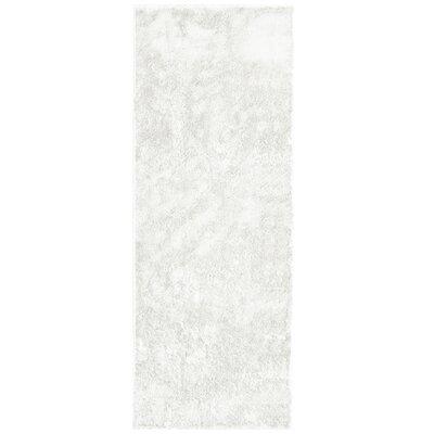 Metro Silk White Area Rug Rug Size: Runner 26 x 8