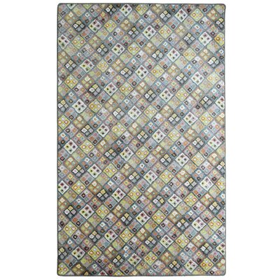 Romania Rainbow Blue/Pink/Yellow Area Rug Rug Size: 5 x 7