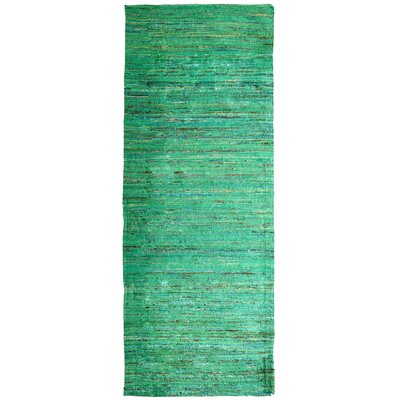 Sari Indian Hand-Woven Green Area Rug Rug Size: Runner 2 x 8