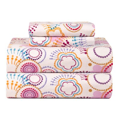 Celeste Home Ultra Soft Flannel Poppi Cotton Sheet Set Size: Queen