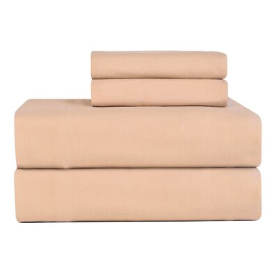 Celeste Home Ultra Soft Flannel Cotton Sheet Set Size: Twin Extra Long, Color: Sand