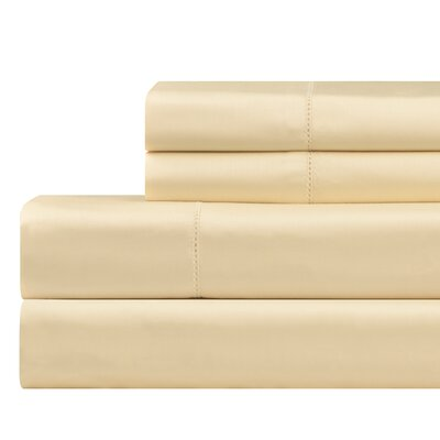 610 Thread Count 4 Piece Pima Cotton Sheet Set Size: Queen, Color: Cream