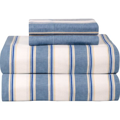 Celeste Home Ultra Soft Flannel Sheet Set in Blue & White Size: Queen