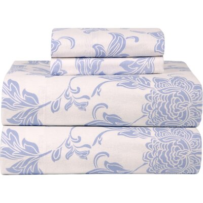 Celeste Home Ultra Soft Flannel Sheet Set in Blue & Ivory Size: Queen