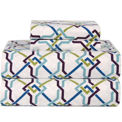 Celeste Home Ultra Soft Flannel Lattice Cotton Sheet Set Size: Queen