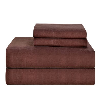 Celeste Home Ultra Soft Flannel Cotton Sheet Set Size: Twin, Color: Coffee Bean