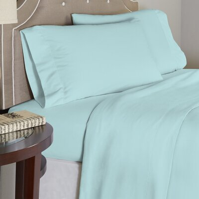 Modern 190 GSM 100% Cotton Sheet Set Size: Full, Color: Turquoise
