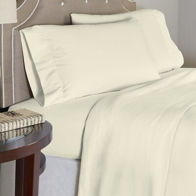 Modern 190 GSM 100% Cotton Sheet Set Size: Full, Color: Ivory