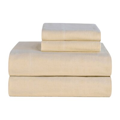 Celeste Home Ultra Soft Flannel Cotton Sheet Set Size: California King, Color: Cloud Cream