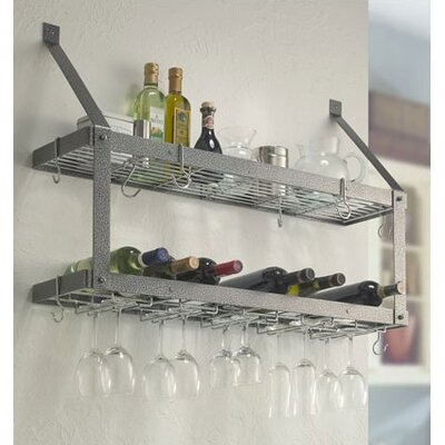 Estate Wine Racks and Wine Openers Double 16 Bottle Wall Mounted Rack Finish: Hammered Steel/Chrome