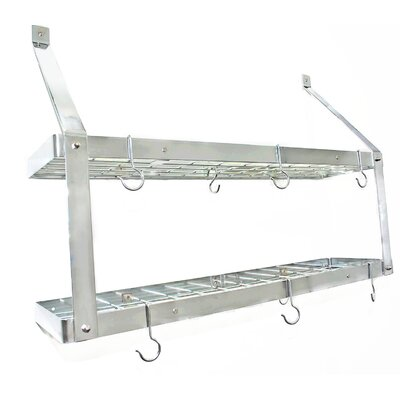 Estate Wine Racks and Wine Openers Double 16 Bottle Wall Mounted Rack Finish: Bright Chrome/Chrome