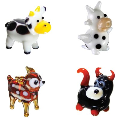 4 Piece Miniature Cow, DairyCow, Deer, Bull Figurine Set 35018