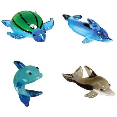 4 Piece Miniature Myrtle SeaTurtle, TailWalk Dophin, Dexter Dolphin, Twister SpinnerDolphin Figurine Set 35160