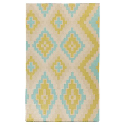 Alameda Antique White/Lime Area Rug Rug Size: 5 x 8