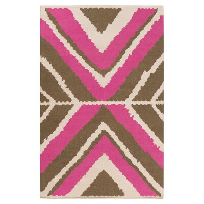 Alameda Hand woven Ivory/Magenta Area Rug Rug Size: Rectangle 5 x 8