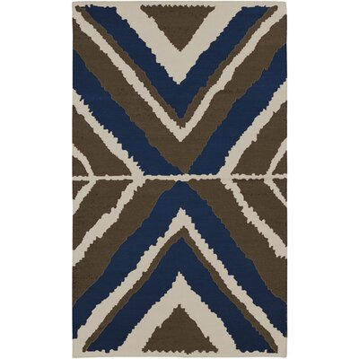 Alameda Hand woven Blue/Ivory Area Rug Rug Size: Rectangle 5 x 8
