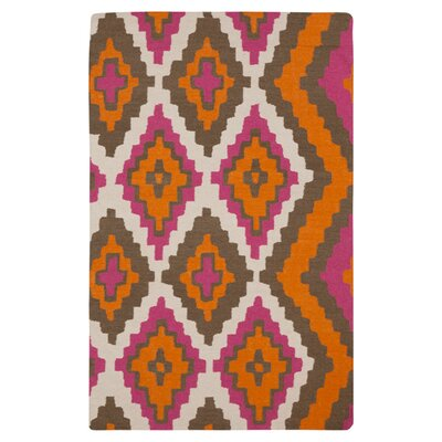 Alameda Hand woven Pumpkin/Raspberry Area Rug Rug Size: Rectangle 2 x 3