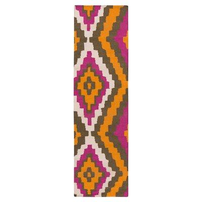 Alameda Hand woven Pumpkin/Raspberry Area Rug Rug Size: Runner 26 x 8
