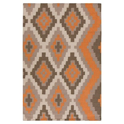 Alameda Hand woven Orange/Taupe Area Rug Rug Size: Rectangle 2 x 3