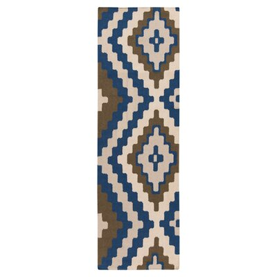 Alameda Hand woven Blue/Ivory Area Rug Rug Size: Runner 26 x 8