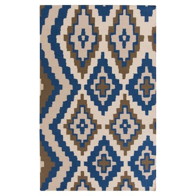 Alameda Hand woven Blue/Ivory Area Rug Rug Size: Rectangle 33 x 53