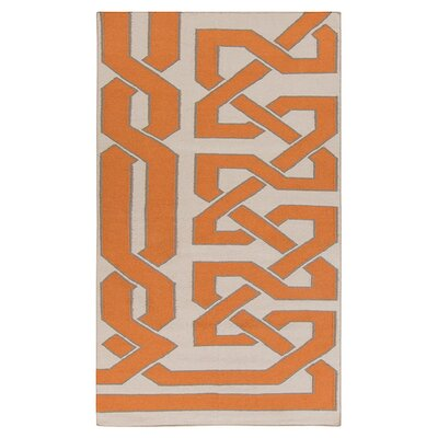 Alameda Hand woven Ivory/Orange Area Rug Rug Size: Rectangle 8 x 11