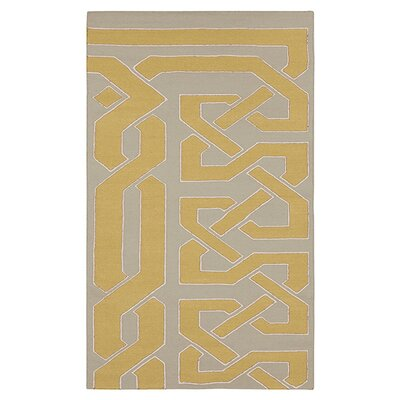 Alameda Hand woven Gray/Dark Yellow Area Rug Rug Size: 2 x 3
